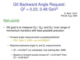 G0 Backward Angle Request:  Q 2  = 0.23, 0.48 GeV 2
