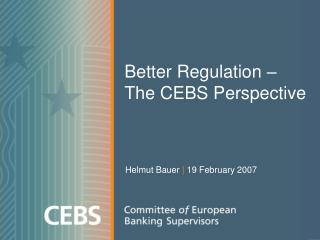Better Regulation –  The CEBS Perspective