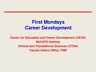 First Mondays Career Development