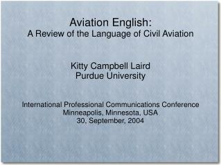 Aviation English: A Review of the Language of Civil Aviation