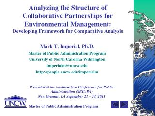 Mark T. Imperial, Ph.D. Master of Public Administration Program