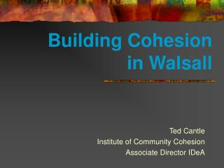 Building Cohesion  in Walsall