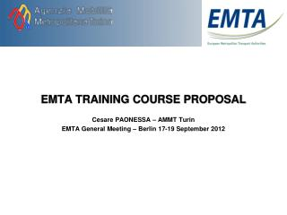 EMTA TRAINING COURSE PROPOSAL