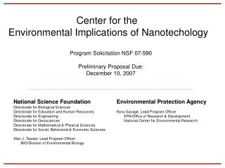 Center for the  Environmental Implications of Nanotechology