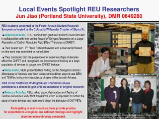 Local Events Spotlight REU Researchers Jun Jiao (Portland State University), DMR 0649280