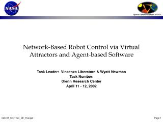 Network-Based Robot Control via Virtual Attractors and Agent-based Software