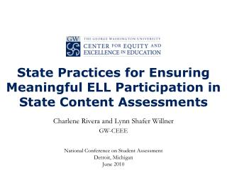 State Practices for Ensuring Meaningful ELL Participation in State Content Assessments