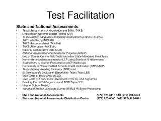 Test Facilitation