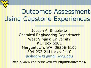 Outcomes Assessment Using Capstone Experiences