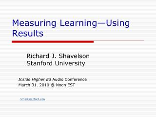 Measuring Learning—Using Results
