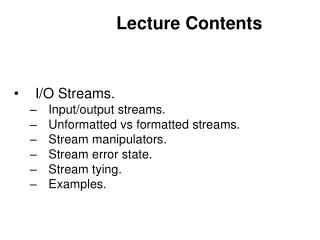 Lecture Contents