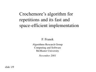 Crochemore's algorithm for repetitions and its fast and space-efficient implementation