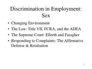 Discrimination in Employment: Sex