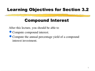 Learning Objectives for Section 3.1  Simple Interest