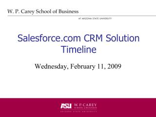Salesforce CRM Solution Timeline