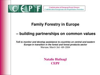 Family Forestry in Europe  – building partnerships on common values
