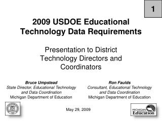 2009 USDOE Educational Technology Data Requirements