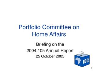 Portfolio Committee on  Home Affairs