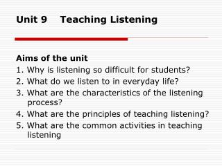 Unit 9    Teaching Listening
