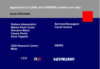 Application of CAMx and CHIMERE models over Italy Guido PIROVANO