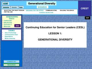 Continuing Education for Senior Leaders (CESL)  LESSON 1: GENERATIONAL DIVERSITY