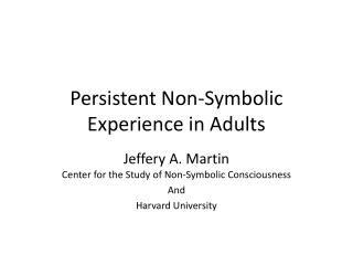 Persistent Non-Symbolic Experience in Adults