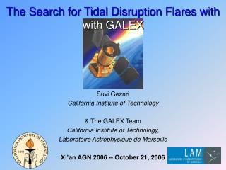 The Search for Tidal Disruption Flares with with GALEX