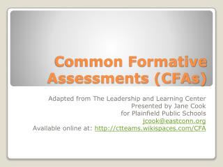 Common Formative Assessments (CFAs)