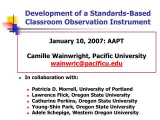 Development of a Standards-Based Classroom Observation Instrument