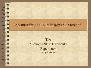 An International Dimension in Extension