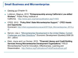 Small Business and Microenterprise