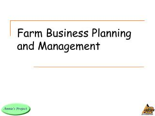 Farm Business Planning and Management