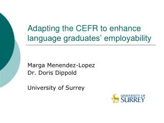 Adapting the CEFR to enhance language graduates' employability