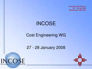 INCOSE Cost Engineering WG