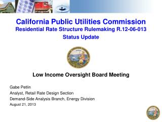 California Public Utilities Commission  Residential Rate Structure Rulemaking R.12-06-013