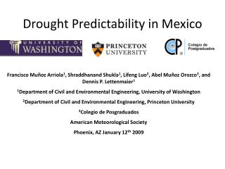 Drought Predictability in Mexico