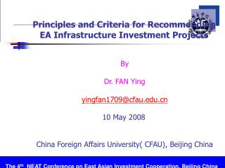 Principles and Criteria for Recommending EA Infrastructure Investment Projects