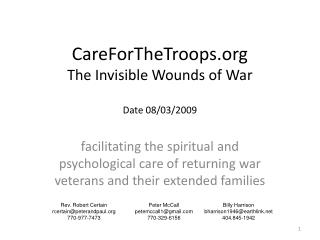 CareForTheTroops The Invisible Wounds of War Date 08/03/2009