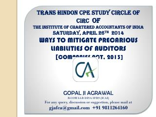 TRANS HINDON CPE STUDY CIRCLE OF CIRC   OF  THE INSTITUTE OF CHARTERED ACCOUNTANTS OF INDIA