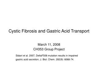 Cystic Fibrosis and Gastric Acid Transport