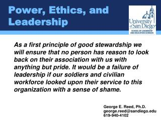 Power, Ethics, and Leadership