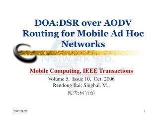 DOA:DSR over AODV Routing for Mobile Ad Hoc Networks
