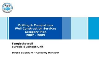 Drilling & Completions  Well Construction Services Category Plan 2007 - 2009