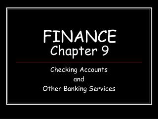 FINANCE Chapter 9