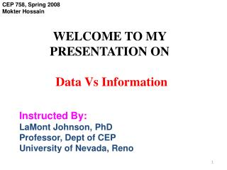 WELCOME TO MY PRESENTATION ON