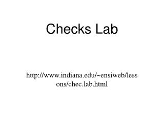 Checks Lab
