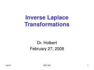 Inverse Laplace Transformations