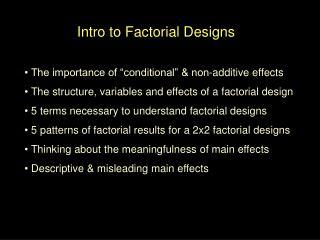 Intro to Factorial Designs