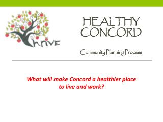 Healthy Concord Community Planning Process
