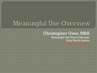 Meaningful Use Overview